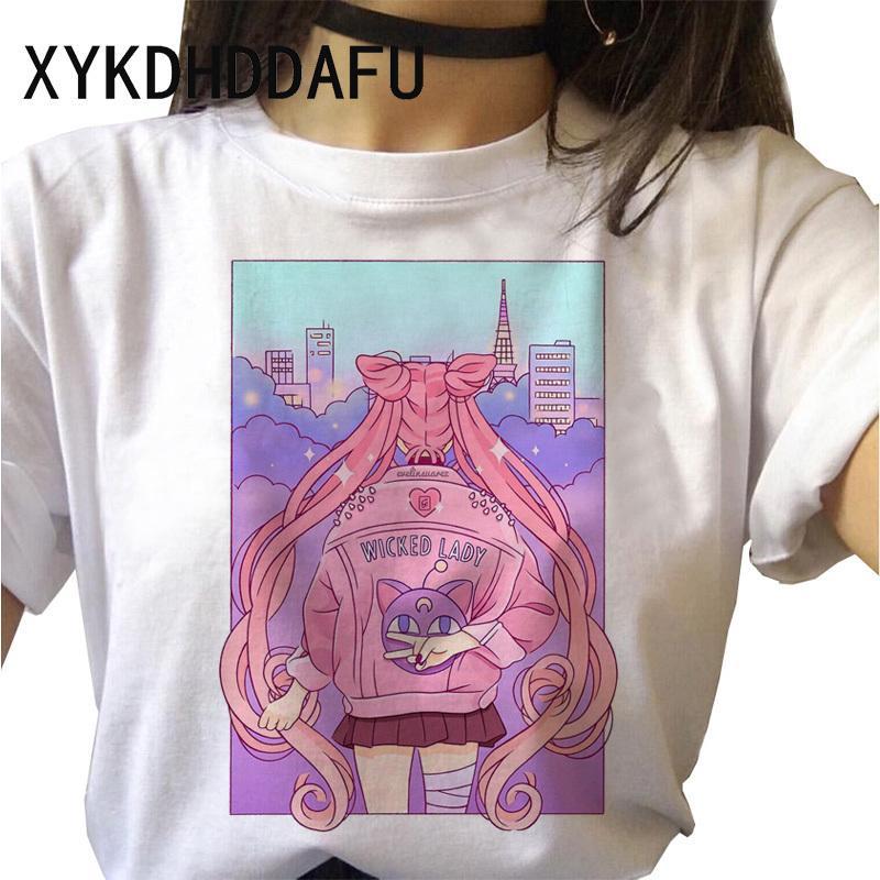 Sailor Moon camiseta 2020 mujeres de Kawaii de Harajuku verano camiseta divertida Ulzzang primer golpe ropa de la historieta Estética Camiseta Mujer