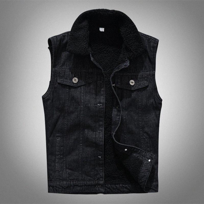 Moda Erkekler Sonbahar Kış Polar Kalın Denim Vest Siyah İnce Kolsuz Tek Breasted Casual Coats Erkek Yabani Giyim Tide iKx0 #