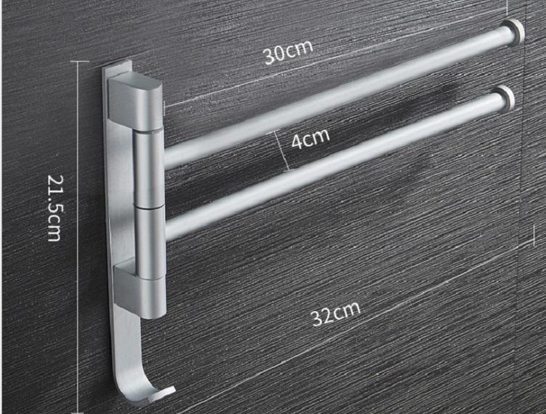 2020 hot sale Non punching space aluminum towel rack can rotate multi pole bathroom towel bar hardware pendant shelf TR04