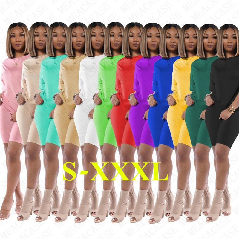 Mujeres chándal de dos piezas trajes casual de cuello redondo de color sólido delgado de manga corta camiseta Pantalones cortos Leggings playa del verano se divierte los juegos D71403