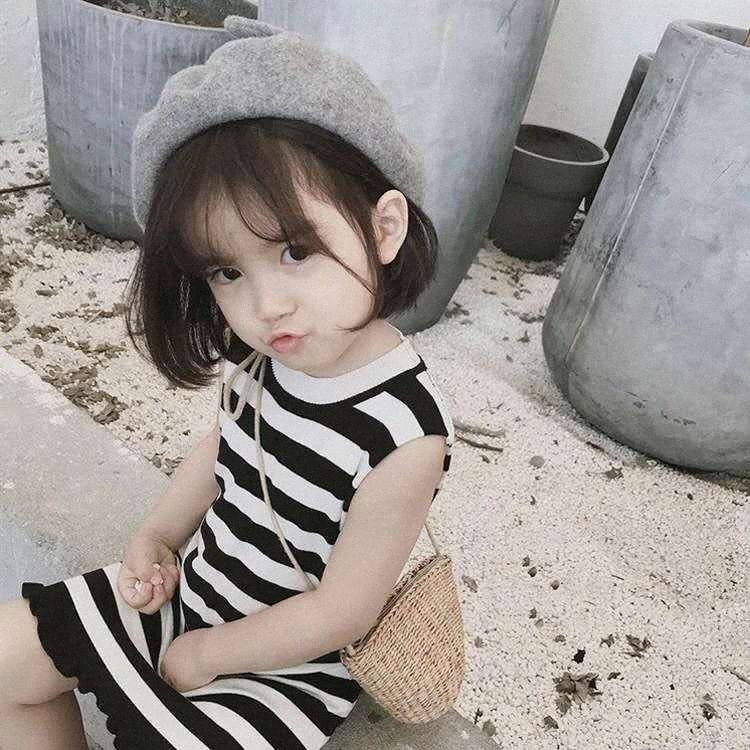 'abiti, 2020 modelli di estate, versione coreana di cotone, a righe, ragazze straniere' ragazze giubbotti, vestito vestito dei bambini tMwB #