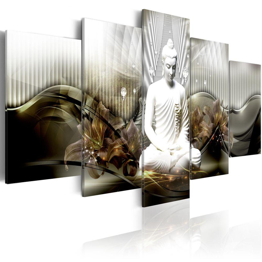 Modular Canvas Prints Pictures Wall Art 5 Pieces Buddha Statue Painting Abstract Lilies Flowers Poster Office Home Decor Framed