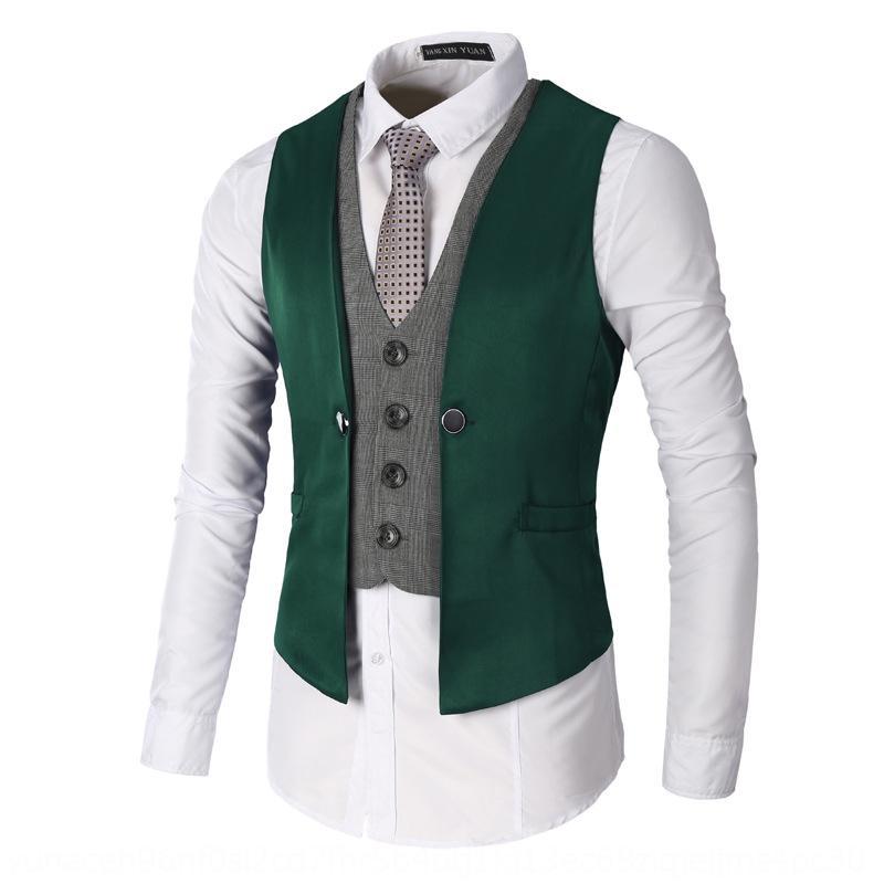 VphNk tamaño traje de 2 piezas falsa chaleco tamaño coatlarge capa ocasional de los hombres ocasionales de los hombres falsa 2 piezas traje de gran escudo