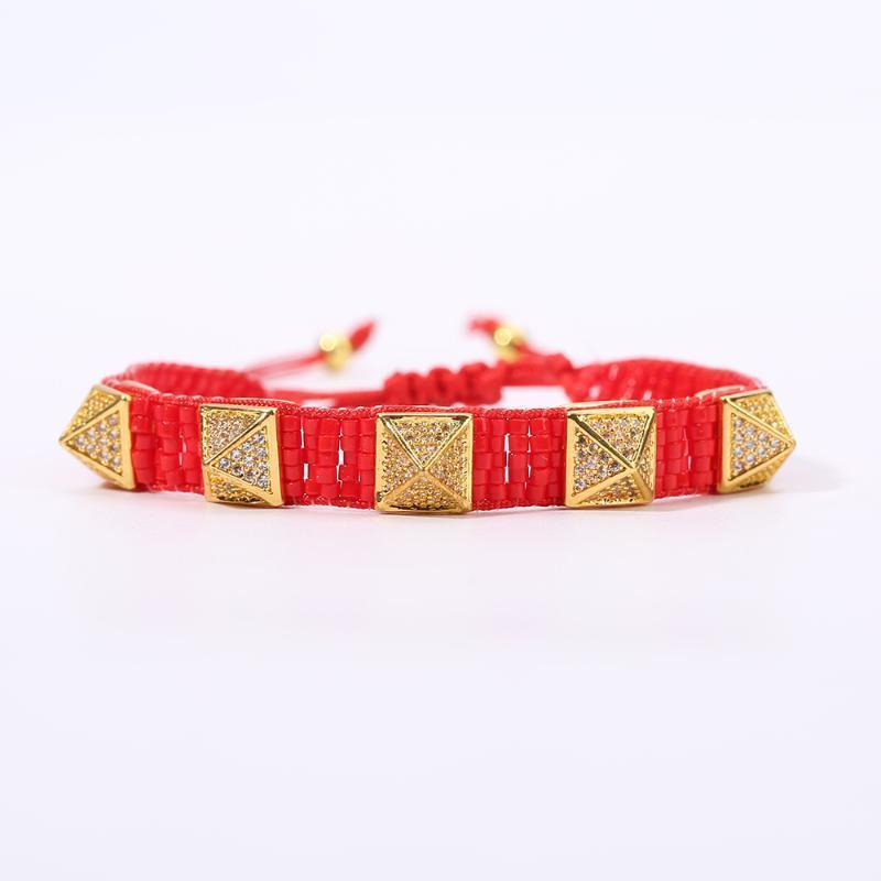 Rttooas MIYUKI Мода браслет Красный Rivet браслеты шарма Pulseras Mujer Moda 2020 повязки Подарки для женщин ручной работы тканые