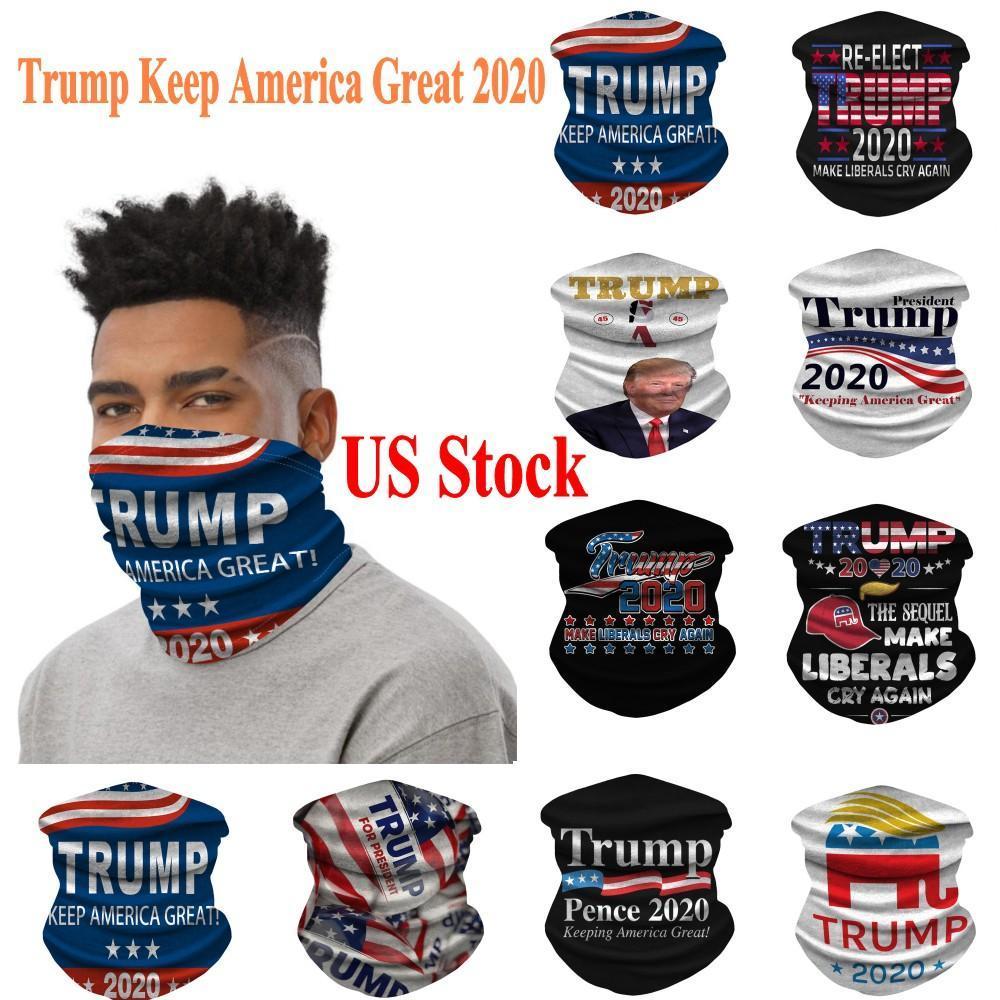 EU Stock Trump 2020 Máscaras Ciclismo Cachecol Bandana Motorcycle Cachecóis Lenço pescoço máscara protectora exterior Trump Mantenha América Grande FY9156