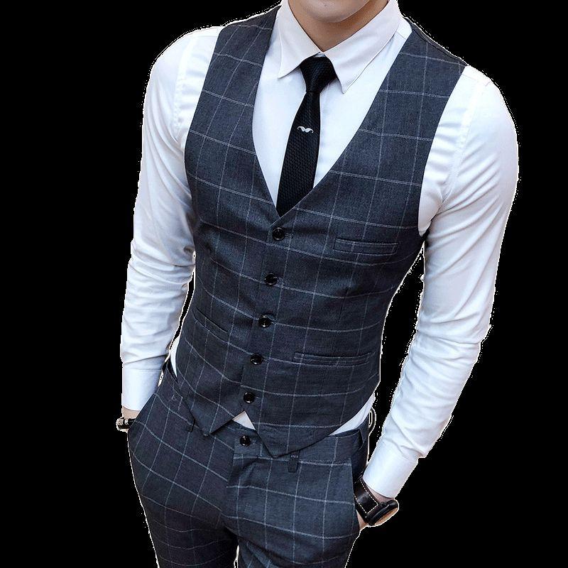 2020 Plaid Suit Vest Mens Business