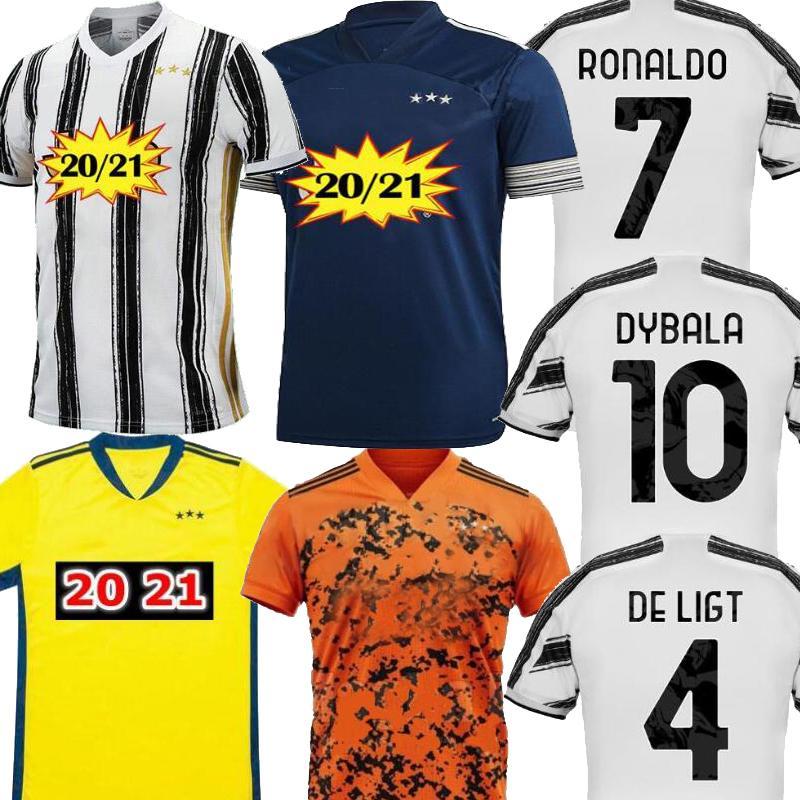 Размер S-3XL 2021 футбол Джерси DYBALA C. Ronaldo Главная Blue Orange Mens D.COSTA De Ligt Cuadrado DYBALA Джерси футбол рубашки форма 20 21