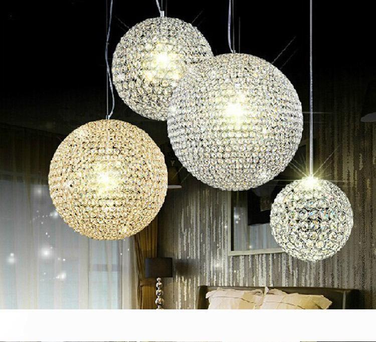 Modern K9 Kristal Yuvarlak top Avizeler İç Aydınlatma Tavan Lambaları Pendant lambası ücretsiz kargo aydınlatma LED