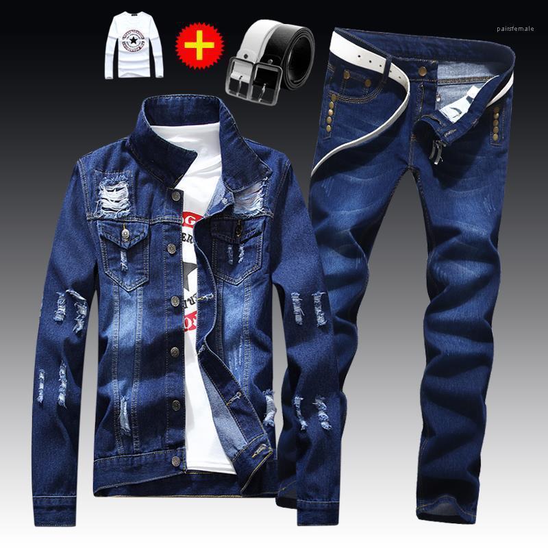 Jacke Ausgefranste Solid Color Hosen Herren-Satz-beiläufige kühle Zweiteilige Sets Herren Frühling und Herbst dünne 2pcs Loch