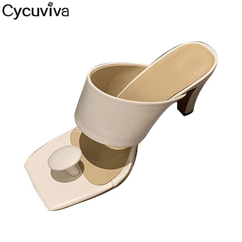 Flip Flops piste haut talon Femmes Slipper Bouton de Split Toe Chaussures Femme Mulets Ladies 2020 Summer Designer Diapositives Sandalias Mujer