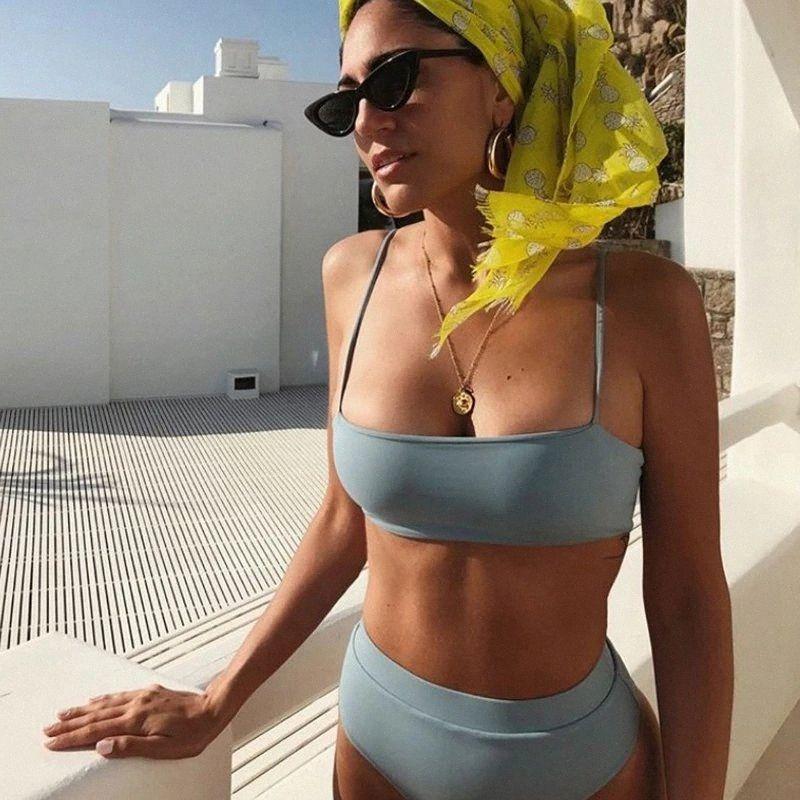 2 Piece Bikini Define Bra Thong Swimwear Mulheres Sexy cintura alta Bikini Push Up acolchoado Swimsuits Beachwear Tops verão Swim Suit t9pX #