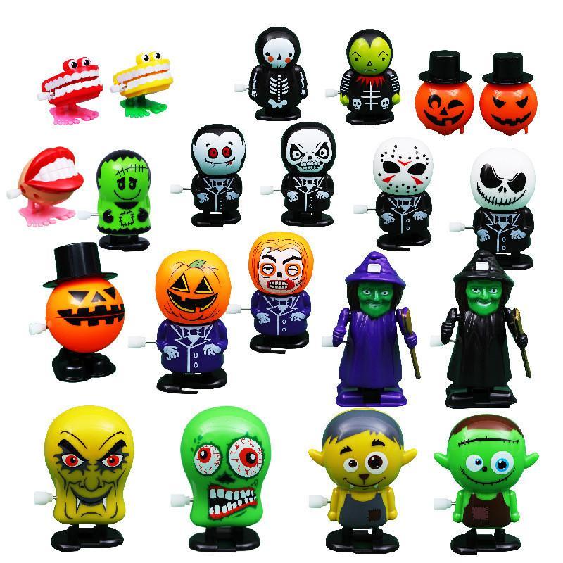 Uhrwerk Halloween Spielzeug Kürbis-Geist Uhrwerk Springen Spielzeug Mechaniker Lernspiel Prank Dekoration für Kinder Halloween Weihnachten Spielzeug GWA727