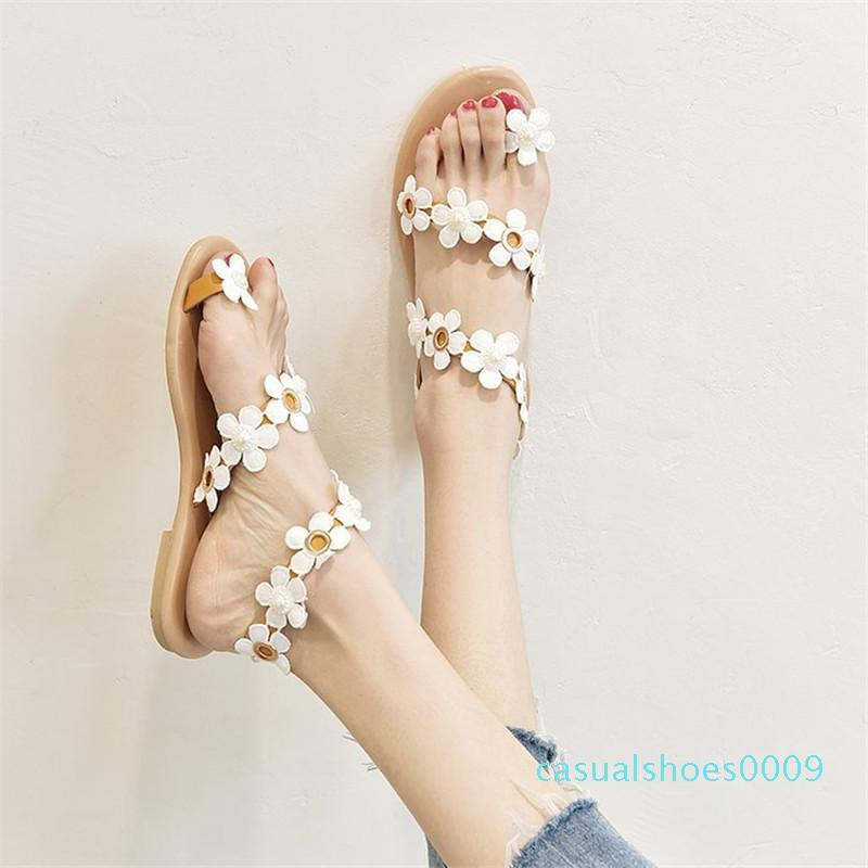 Women summer Sandals slippers plus size flowers Bohemian style Open Toes sexy club Slip-On Flat shoes Gladiator