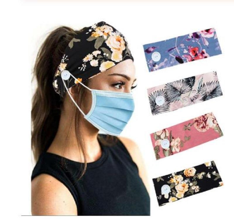 Women Yoga Hair Bands Man Button Headband With Buttons 2020 Fashion Facemask Holder Headbands Protect Ears Sports Hair Accessories