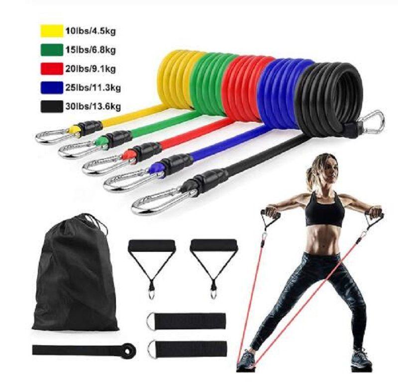 11pcs / Set bandes de résistance latex Crossfit exercice d'entraînement Yoga Tubes Tirer corde en caoutchouc Expander Bandes élastiques appareil de conditionnement physique
