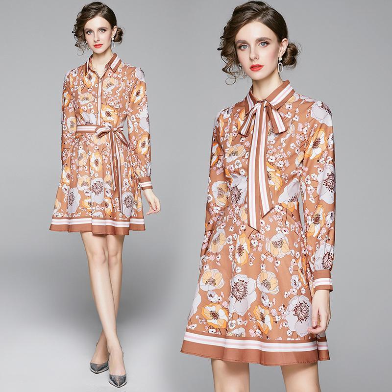İlkbahar Yaz Sonbahar Sonbahar Pist Vintage Çiçek Baskı Yaka Bow Uzun Kollu Düğmesi Ön Kadınlar Bayanlar Casual Taraf A-Line Mini Elbise