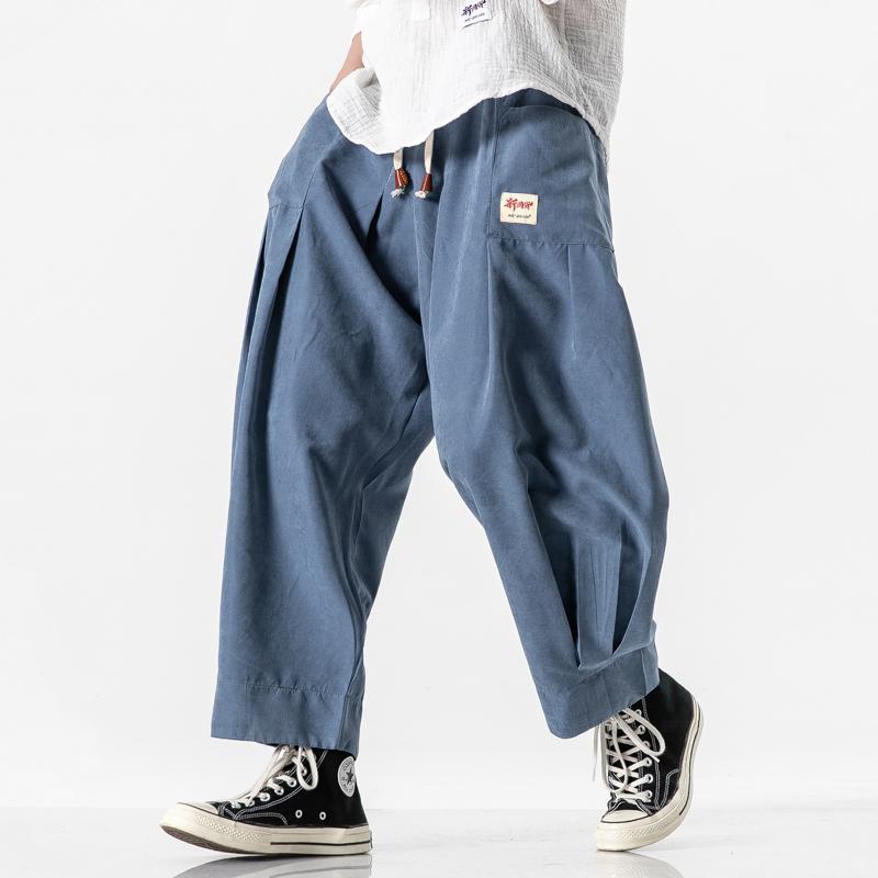 2020 Mens Black Wide Leg Брюки Мужчины Хлопок Повседневный Vintage Брюки Pantalon Homme Мужской Hip Hop Streewear шаровары