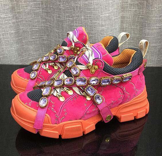 Zapatillas de deporte FlashTrek con cristales desmontables, de piel suela de Montaña Botas y zapatos casuales de las mujeres netas de excursión los zapatos multicolor E7
