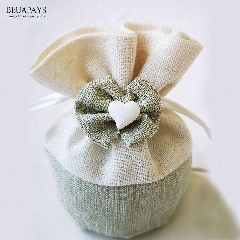 20pcs boîte de bonbons décoration de mariage sac créatif fond rond avec cordon de serrage polyester main arc voile sac cadeau de Noël personnalisée z4Ru #