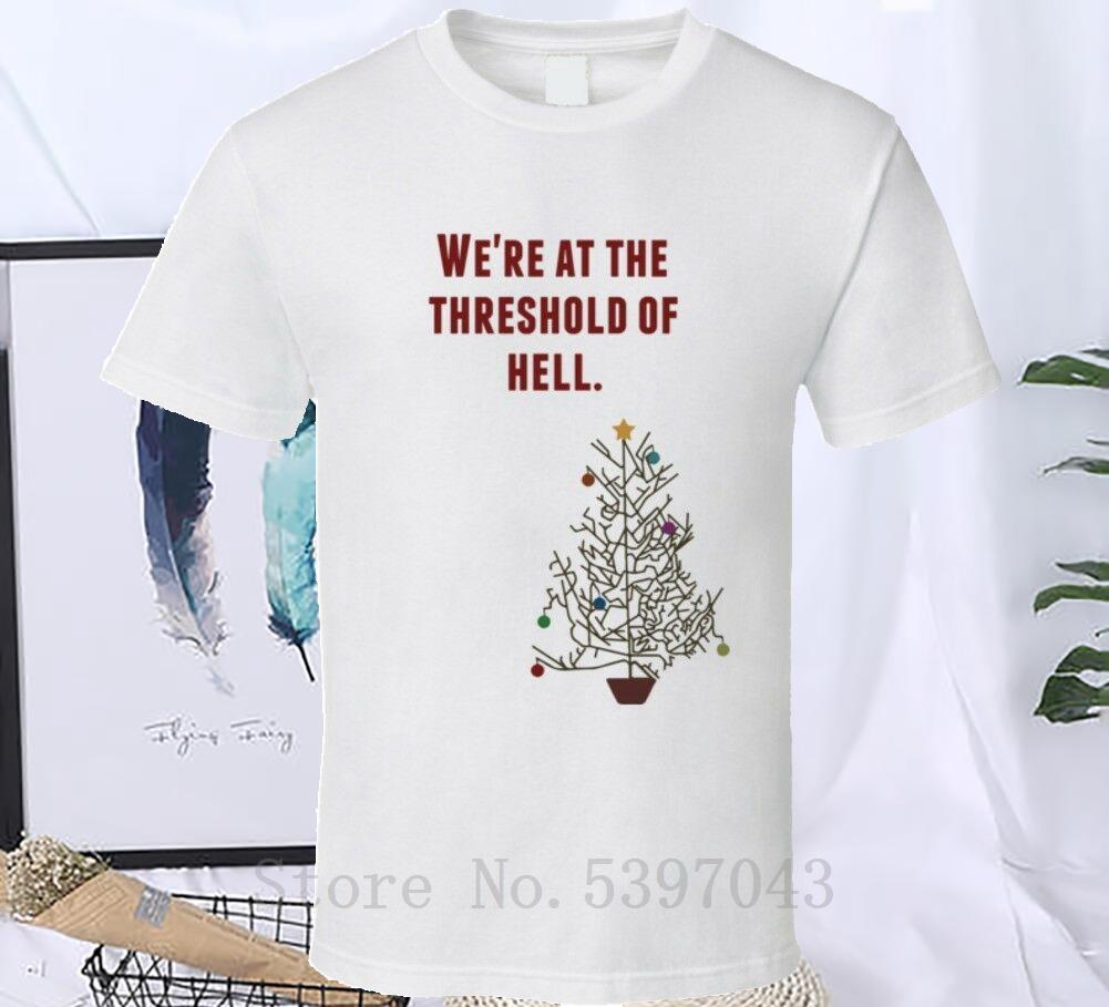Umbral de vacaciones Infierno nacional de Navidad árbol Lampoon película Cita camiseta camiseta camiseta Ajuste para los hombres Ropa O-Cuello