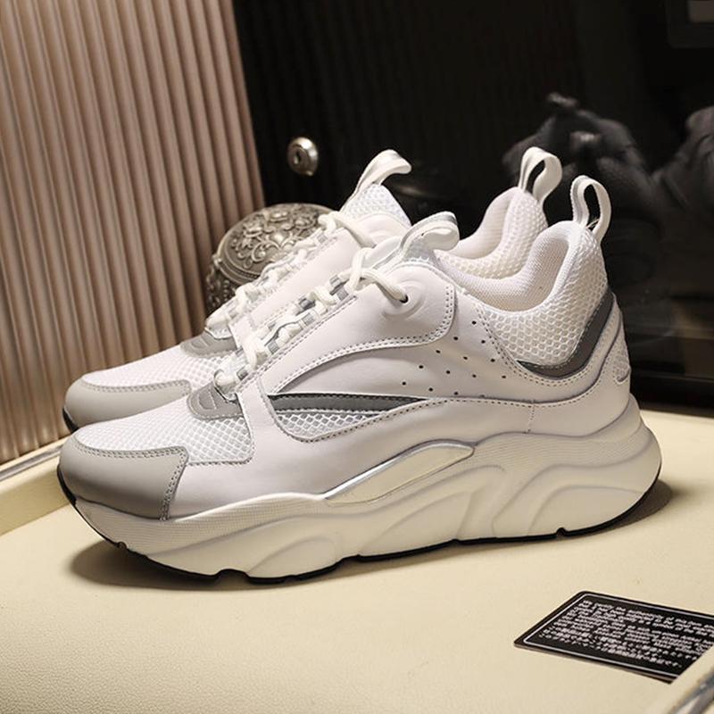 Erkekler Ayakkabı B22 Sneaker in Beyaz Teknik Örgü Beyaz Ve Gümüş tonlu Dana derisi Açık Yürüyüş Yumuşak Scarpe Da Uomo Spor Kuitixm Casual Sho