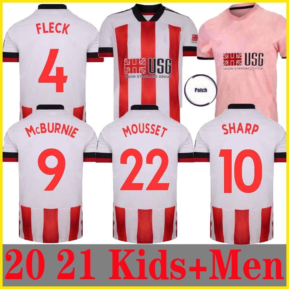 20 21 Sheffield maglie calcio Berge MOUSSET United 2020 2021 McBurnie Lundstram FLECK Uomi bambini Football Kit shirt NORWOOD SHARP Jersey
