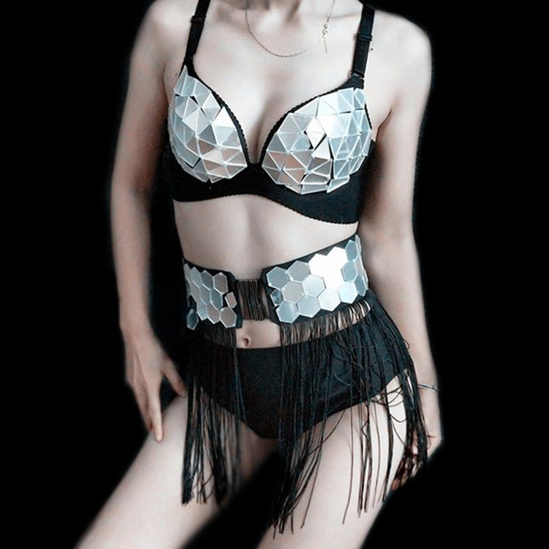 Trajes de discoteca espejo Mujeres del bikini de la franja de faja Mujer GOGO bailarines rendimiento traje de la danza de poste ropa sujetador bragas VDB2053