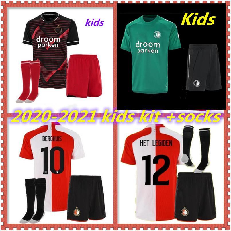 20 21 kids kit Feyenoord home away soccer jerseys 2020 2021 KOKCU football shirt BERGHUIS Camiseta de futbol JORGENSEN camiseta de fútbol
