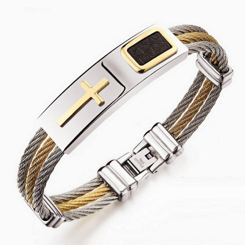 Pulseras con Hombres de acero inoxidable cadenas encanto pulseras de cadena de la manera del hombre pulseras cruz de plata en la mano djustable regalos para los hombres