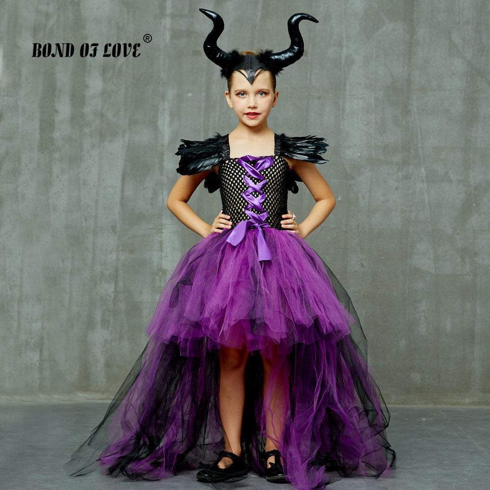 키즈 파티 드레스 어린이 크리스마스에 대한 말레 피 센트 사악한 여왕 여자 투투 드레스와 뿔 할로윈 코스프레 마녀 의상은 T200709 옷
