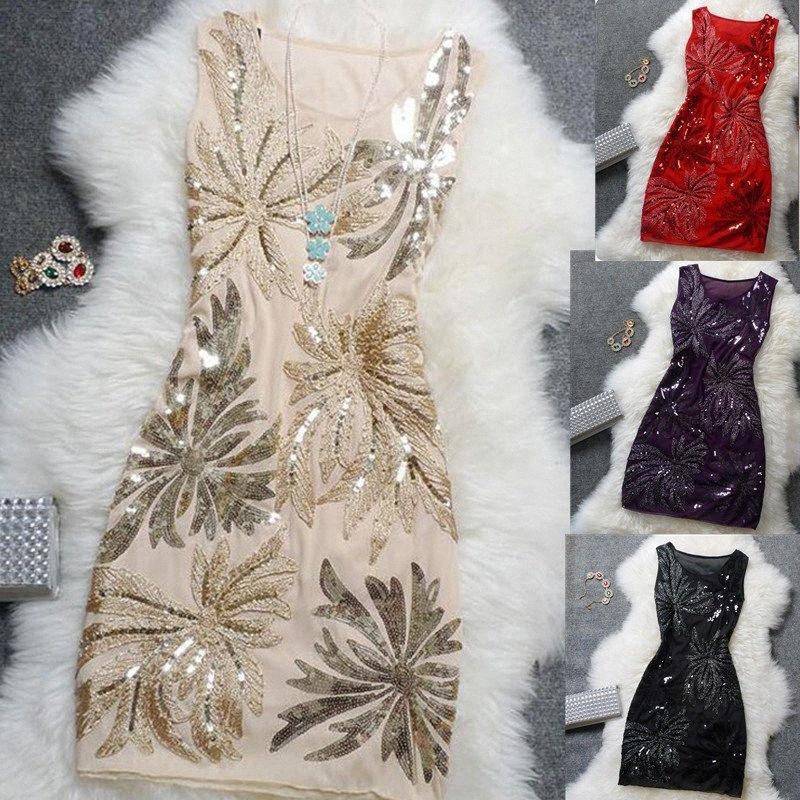 Élégant Vintage Sexy Sequin Plus Size Floral Femmes Top Noir Bleu Rouge court pas cher cocktail Robes de soirée Robes Coctail HYkX #