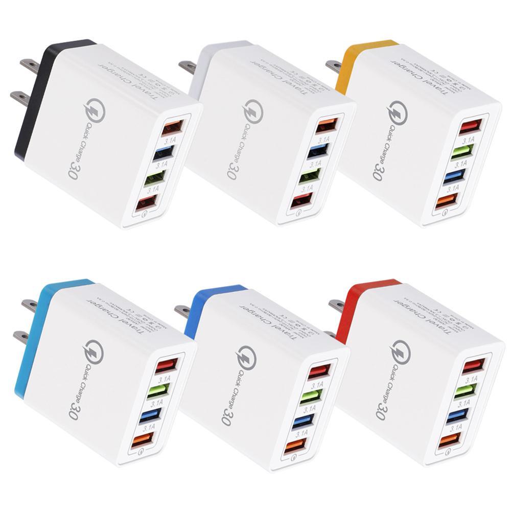 아이폰 8 XS (11) 프로 맥스 삼성 S20 S10 4 포트의 USB 충전기 3.1A 멀티 포트 고속 충전기 QC3.0 여행 휴대용 휴대 전화 충전기