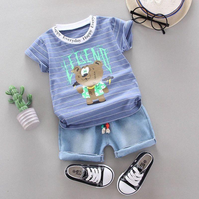 Erkek Bebek Bebek Boys Giyim Yaz için Casual Çizgili Karikatür Tişört Şort 2pcs Kıyafet Suit Bebek Giyim Setleri RLD5 # ayarlar