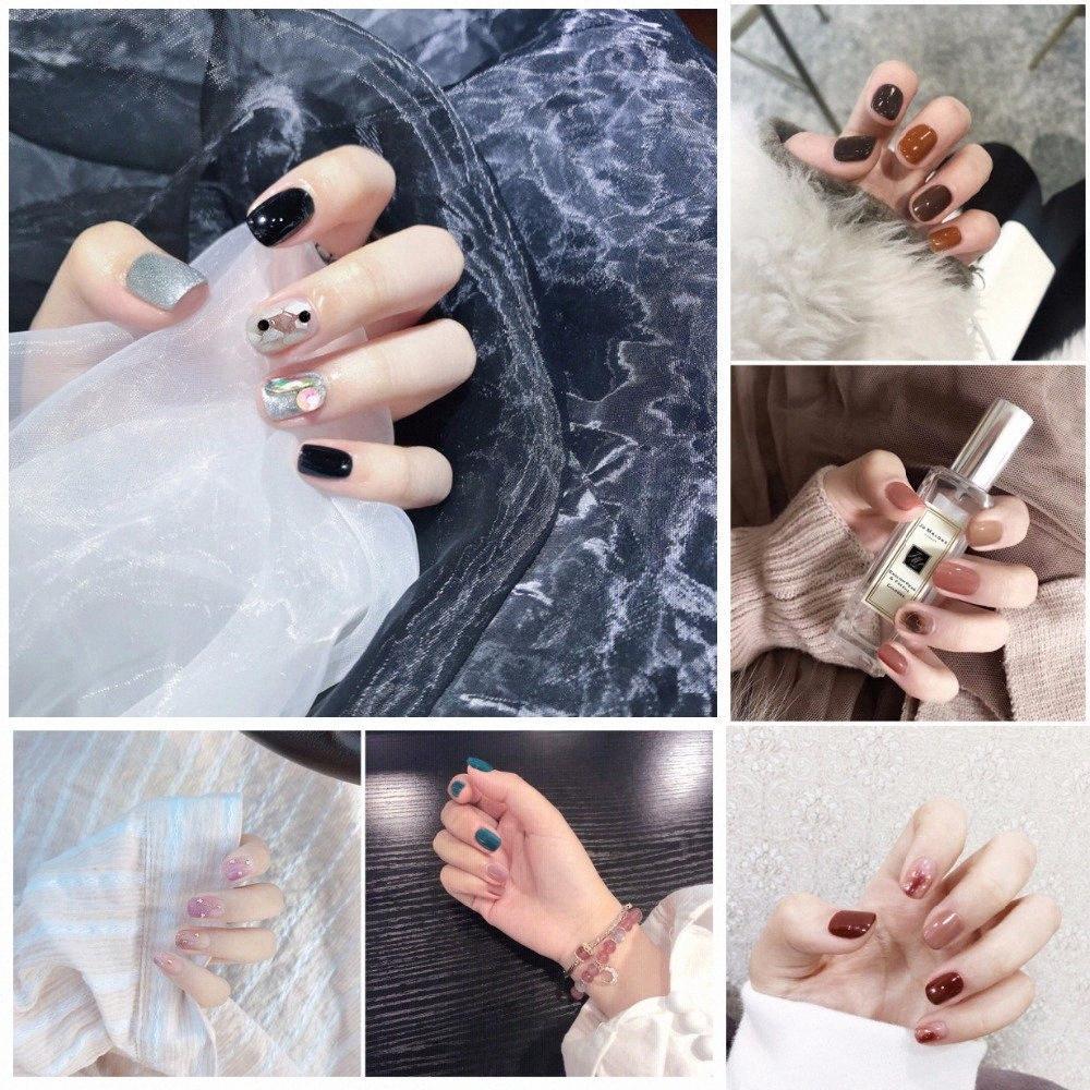 Mutiple New Ins Fashion falsche Nägel mit Designs Pure Color Niedlich Dekoriert Künstliche Nägel japanische Dame Bride Vollständige Nail Tips Professionelle 9Sbk #