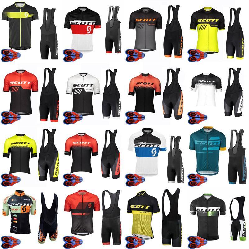SCOTT TEAM traspirante estate Mens ciclismo Maglia manica corta Salopette set Ropa Ciclismo 9D cuscinetto in gel Salopette serie F072404