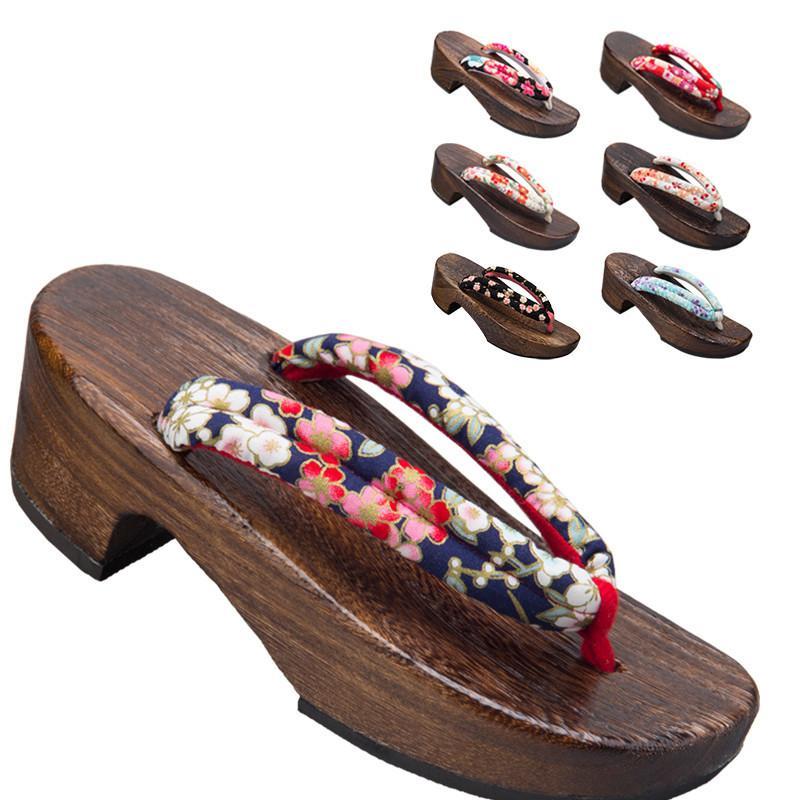Frauen Japanese Traditional Geta Kimono Holzschuhe Anime Cosplay Slippers Sakura runde Zehe Flip Flops Outdoor-Sandalen
