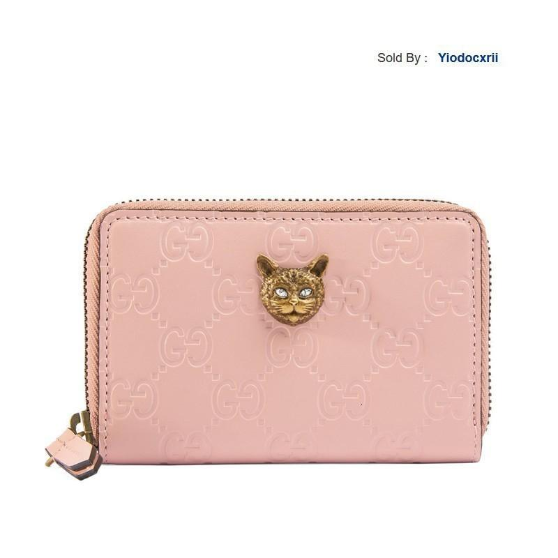 yiodocxrii I9RQ Signature Pink Iconic Leather Metal Cat Head Card Package 548064 0g6ft 5877 Totes Handbags Shoulder Bags Backpacks Wallets
