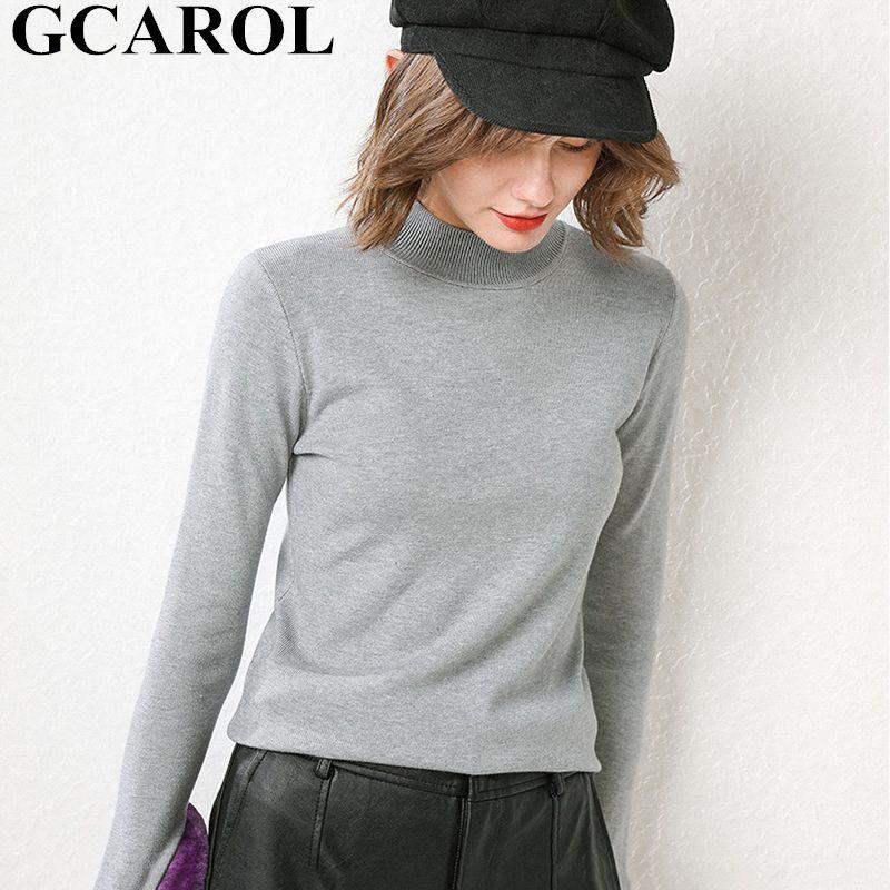 GCAROL Outono Inverno Meio Colarinho alto 30% Wool Sweater Magro alta estiramento doce Jumper OL elegante perfeito Básico malha pulôver Y200720