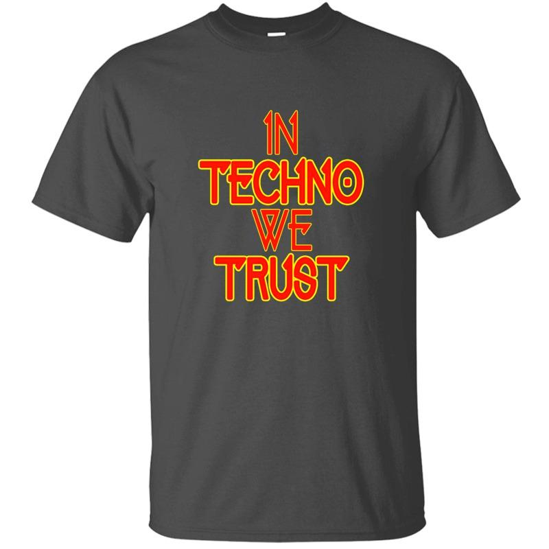 Vintage Fitted In Techno We Trust Rave Music T Shirt For Men 100% Cotton Unisex Crew Neck T-Shirts 2020 Short-Sleeve
