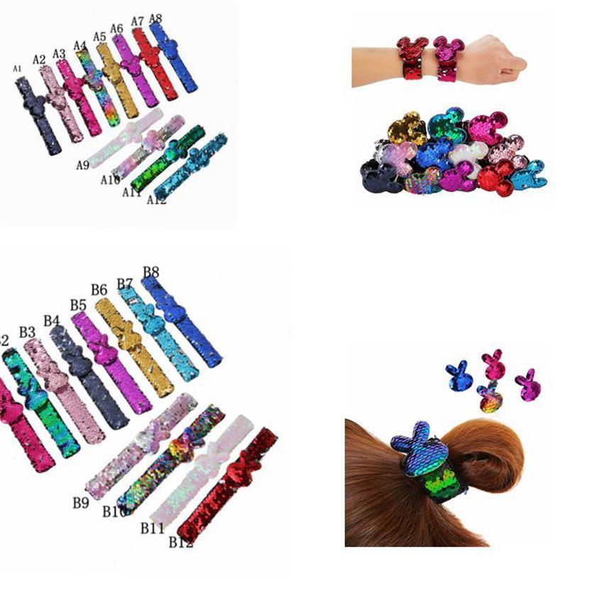 Glitter batida sereia Pulseiras de lantejoulas pulseira encantos pulseira para crianças Mermaid Tapa Bracelet Lantejoula Faixa de Cabelo Rabo Corda Anel KKA7973