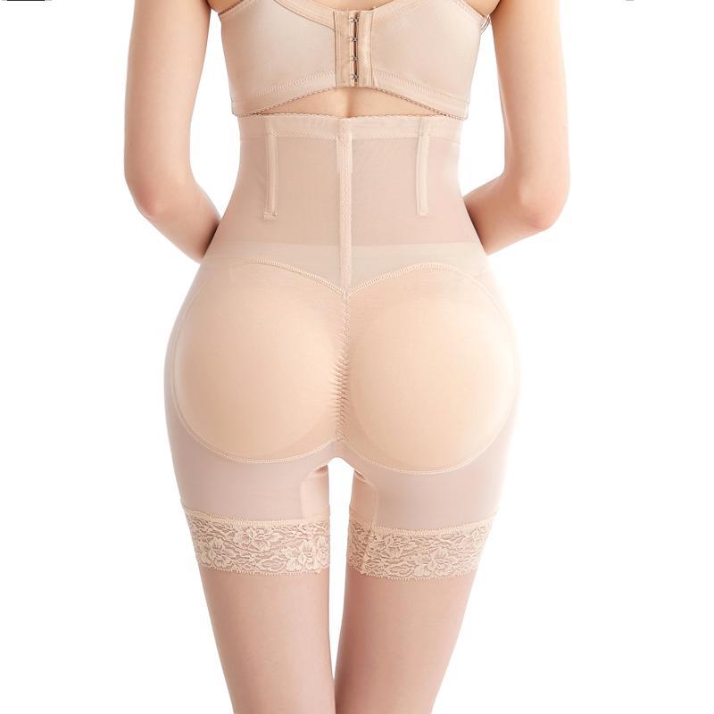 Women High Waist Tummy Control Panties Lace BuLifter Body Shaper Boyshort ASS Pad Shorts Hip Enhancer Shapewear Thin