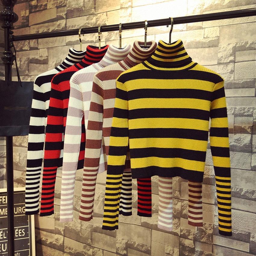 tapa de la cosecha Mujer jerséis de cuello alto a rayas ulzzang ins suéter de punto de las mujeres del estilo del invierno del otoño del resorte de la moda coreana bFoy marca #