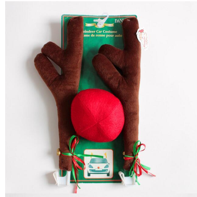 Fashion New Reindeer Antlers and Red Nose Car Kit Christmas Fun Rudolph Reindeer Ears for All Vehicls Car