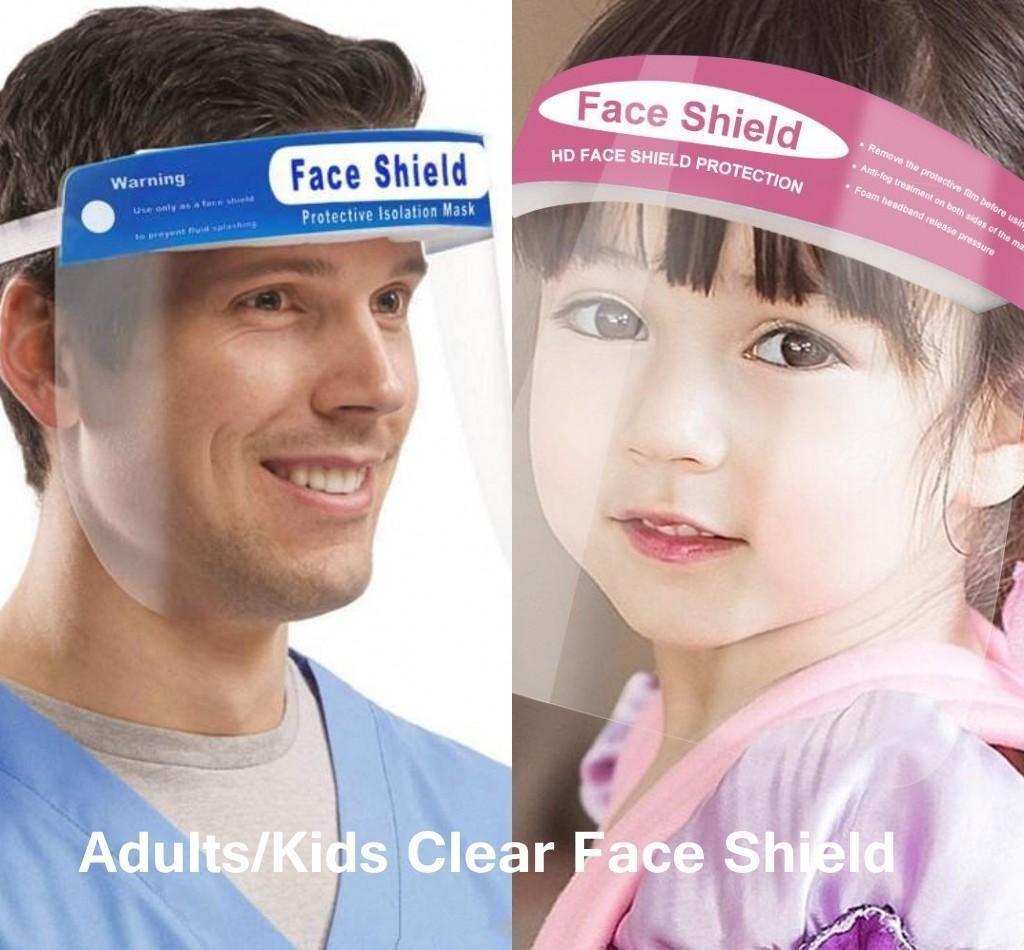الأسهم الأمريكية! واضح درع الوجه الشفاف قناع السلامة للأطفال واقية الوجه غطاء كامل أداة الكبار المضادة للضباب أقنعة قسط PET المواد الوجه