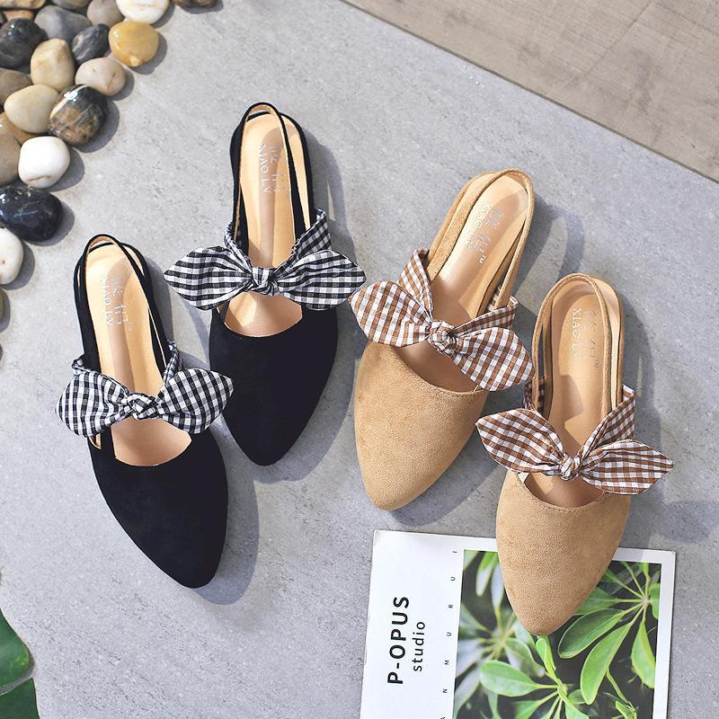 Wohnungen Sandelholz-Frauen Beleg auf beiläufigen Slip-on-Mules Art und Weise faltet Outdoor-Sandalen Schuhe flache Ferse Frau Slides Schuh