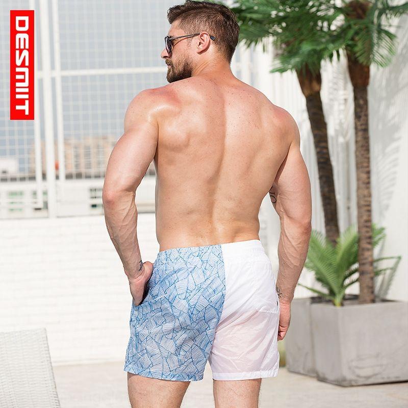 Мода мужская шорты пляж pantspants ультратонких кокетливые трехточечные пляжные брюки сексуальные полупрозрачные печататься свободные случайные шорты