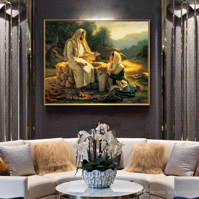 Известные картины Иисуса и плакаты самарянок и распечатки искусства стены холст картины для гостиной Home Decor без рамки