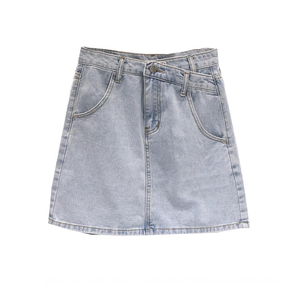 yYEzB Корейского Тондэмун 2020 хипа новых женских юбок короткого платье для похудения высокой талии зонтика Корейского лето A- линии коротких джинсовых юбок
