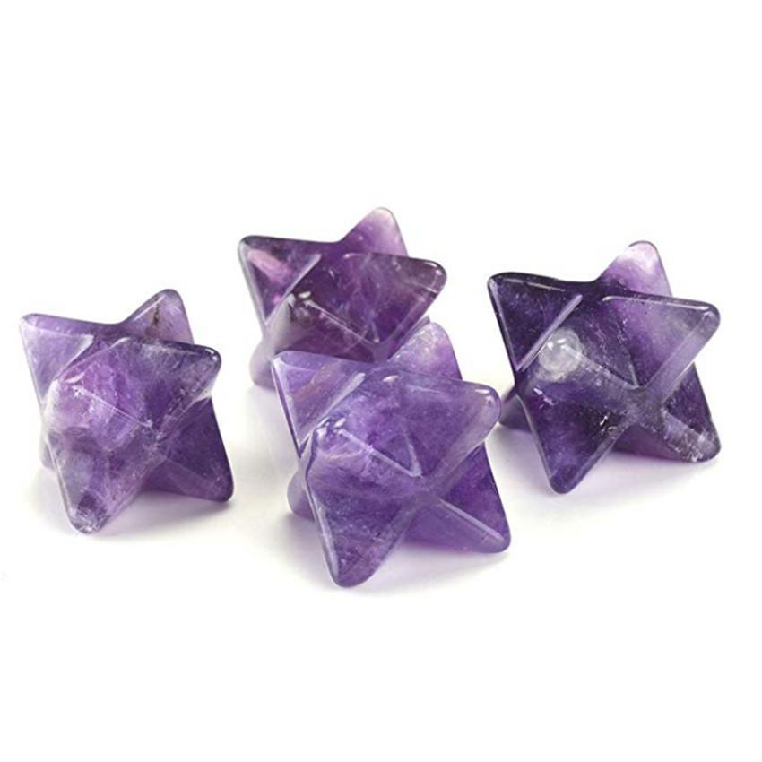 10 pezzi di trasferimento Spirituale Merkaba simbolo della stella del punto di pietra Amethyst Quarzo Rosa Pendente fortunato regalo gioielli