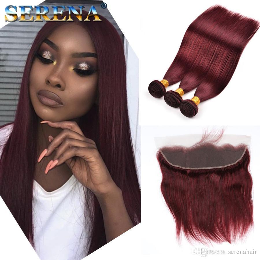 99j Ombre Human Hair Bundles with Closure Peruvian Straight Hair With 13X4 Frontal Blonde Human Hair 3 Bundles With Closure 100% Human